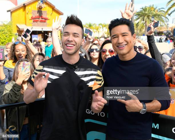 Prince Royce and Mario Lopez visit 'Extra' at Universal Studios Hollywood on March 3 2017 in Universal City California