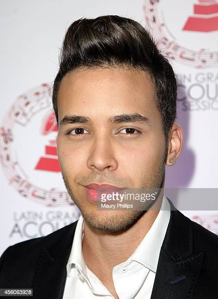Prince Royce arrives at the Latin GRAMMY Acoustic Sessions LA with Prince Royce at the Fonda Theatre on September 24 2014 in Los Angeles California