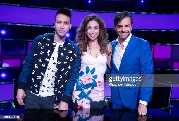 Prince Royce Bianca Marroquin and Eugenio Derbez are seen on the set of 'Pequenos Gigantes USA' at Univision Studios on March 20 2017 in Miami Florida