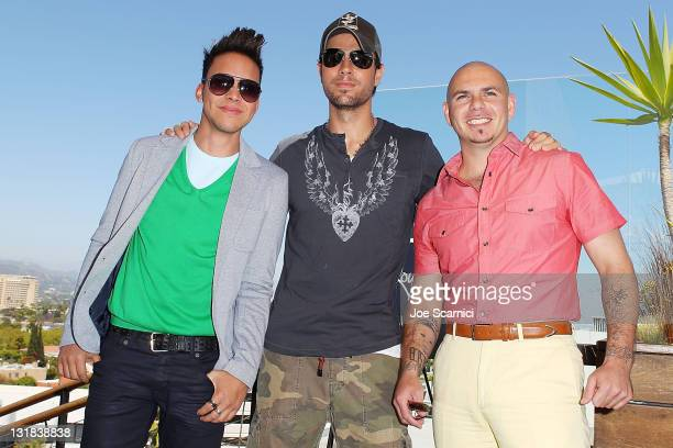 Prince Royce Enrique Iglesias and Pitbull attend Concerts West AEG Live announcement for Enrique Inglesias Pitbull and Prince Royce fall tour at...