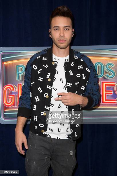 Prince Royce is seen on the set of 'Pequenos Gigantes USA' at Univision Studios on March 20 2017 in Miami Florida