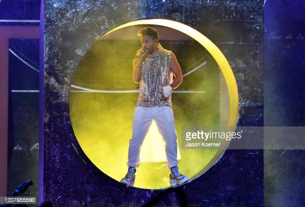 Prince Royce performs live on stage during Univision's Premio Lo Nuestro 2020 at AmericanAirlines Arena on February 20 2020 in Miami Florida