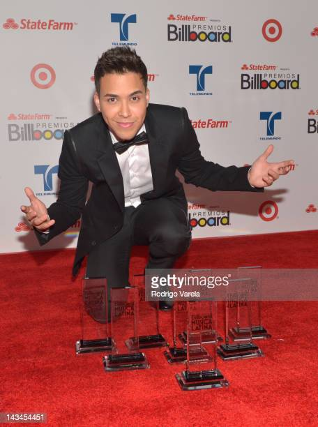 Prince Royce poses backstage during Billboard Latin Music Awards 2012 at Bank United Center on April 26 2012 in Miami Florida