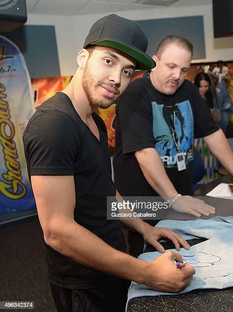 Prince Royce visits SBS Radio Miami to announce Grand Slam Party Latino at SBS Studios on November 8 2015 in Miami Florida