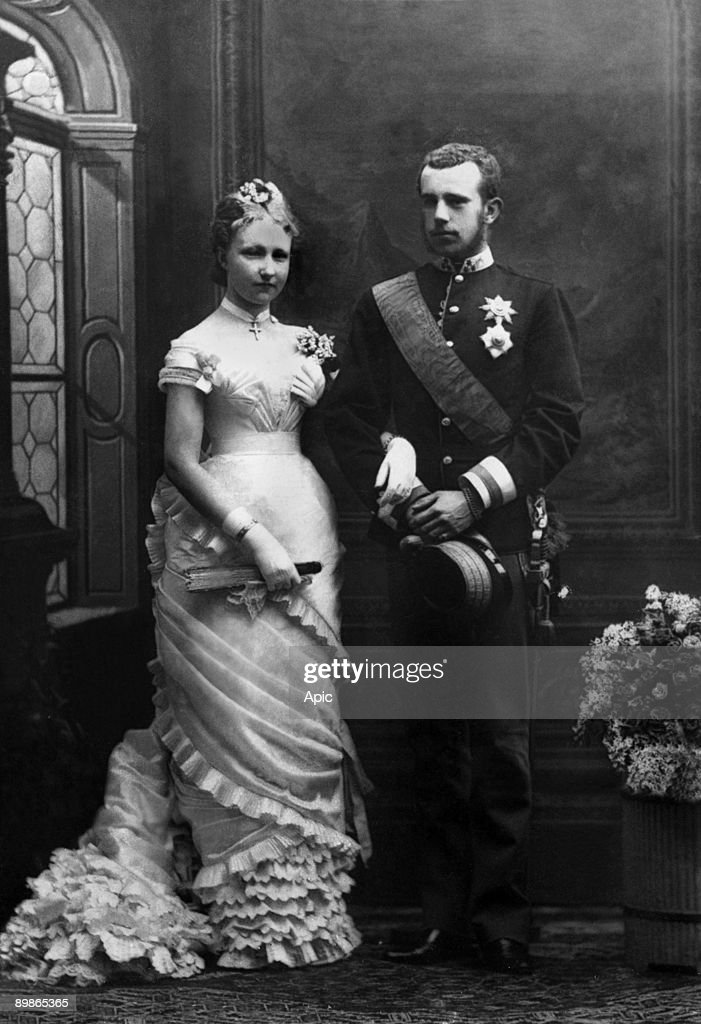 Prince Rudolf of Habsburg (1858-1889) Archduke and crown prince of Austria , only son of emperor FrancoisJoseph and empressSissi (he entered into a suicide pact with his mistress Marie-de-Vetsera : Mayerling affair) here with Stephanie of Belgium when t : News Photo