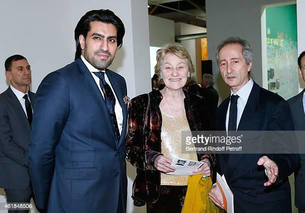 Prince Salman Al Saoud Marisa Bruni Tedeschi and Director of the Centre Pompidou Museum of Modern Art Bernard Blistene attend the 'Societe des Amis...