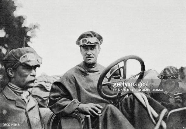 Prince Scipione Borghese at the wheel of his car at the end of the BeijingParis rally France from L'Illustrazione Italiana Year XXXIV No 33 August 18...