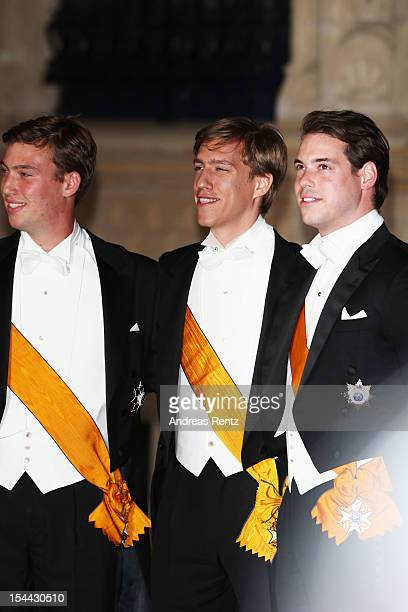 Prince Sebastian of Luxembourg, Prince Louis of Luxembourg and Prince Felix of Luxembourg attend the Gala dinner for the wedding of Prince Guillaume...