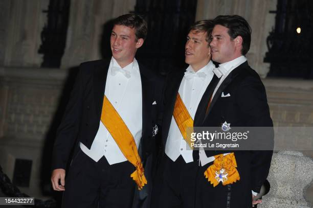 Prince Sebastian of Luxembourg Prince Louis of Luxembourg and Prince Felix of Luxembourg attend the Gala dinner for the wedding of Prince Guillaume...