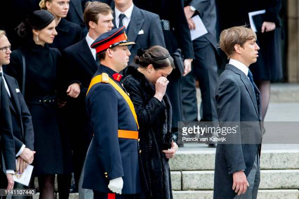 Prince Sebastian of Luxembourg Princess Alexandra of Luxembourg and Prince Louis of Luxembourg attend the funeral of Grand Duke Jean of Luxembourg on...