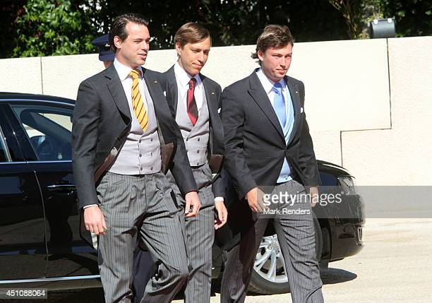 Prince Sebastien of Luxemboug, Prince Felix of Luxembourg and Prince Louis of Luxembourg arrive to celebrate National Day at the Theatre on June 23,...