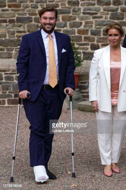 Prince Sebastien of Luxembourg and Grand Duchess Maria Teresa of Luxembourg arrives for the baptism of Prince Charles of Luxembourg at l'Abbaye St...