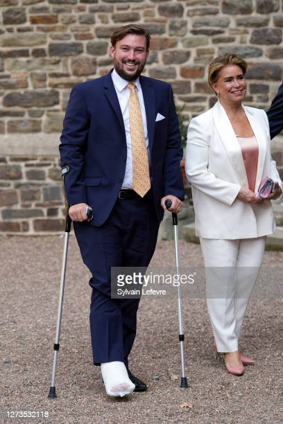 Prince Sebastien of Luxembourg and Grand Duchess Maria Teresa of Luxembourg arrive for the baptism of Prince Charles of Luxembourg at l'Abbaye St...