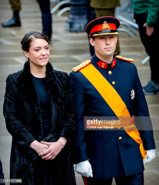 Prince Sebastien of Luxembourg and Princess Alexandra of Luxembourg attend the funeral of Grand Duke Jean of Luxembourg on May 04 2019 in Luxembourg...