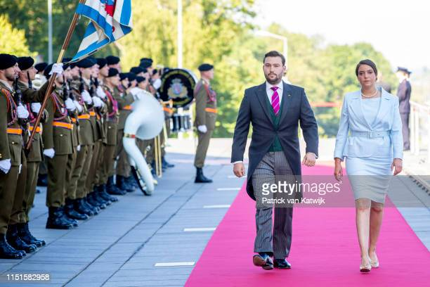 Prince Sebastien of Luxembourg and Princess Alexandra of Luxembourg arrive at the Philiarmonie for the concert on the National Day on June 23 2019 in...