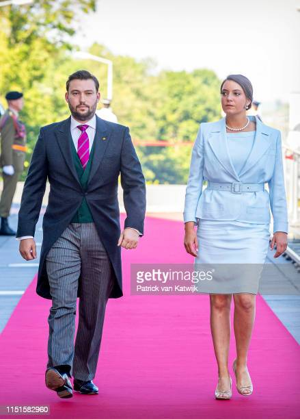 Prince Sebastien of Luxembourg and Princess Alexandra of Luxembourg arrive at the Philiarmonie for the concert on the National Day on June 23, 2019...