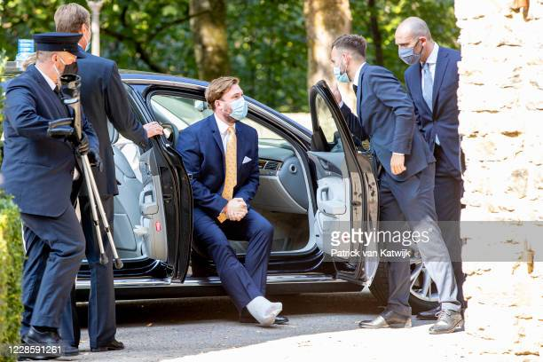 Prince Sebastien of Luxembourg at the baptism ceremony of Prince Charles at the L'abbaye St Maurice on September 19, 2020 in Clervaux, Luxembourg.