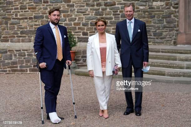 Prince Sebastien of Luxembourg, Grand Duke Henri of Luxembourg and Grand Duchess Maria Teresa of Luxembourg arrive for the baptism of Prince Charles...
