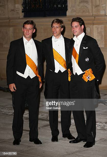 Prince Sebastien of Luxembourg, Prince Felix of Luxembourg and Prince Louis of Luxembourg attend the Gala dinner for the wedding of Prince Guillaume...