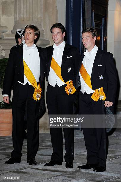 Prince Sebastien of Luxembourg Prince Felix of Luxembourg and Prince Louis of Luxembourg attend the Gala dinner for the wedding of Prince Guillaume...