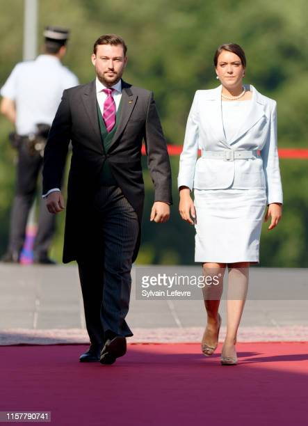 Prince Sebastien of Luxembourg, Princess Alexandra of Luxembourg arrive at the Philharmonie for the concert on the National Day on June 23, 2019 in...