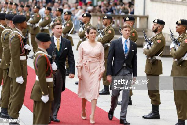 Prince Sebastien of Luxembourg Princess Alexandra of Luxembourg Prince Louis of Luxembourg arrive for Te Deum for National Day at Notre Dame du...
