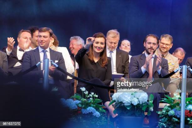Prince Sebastien of Luxembourg Princess Claire of Luxembourg and Prince Felix of Luxembourg celebrate National Day on June 22 2018 in Luxembourg...