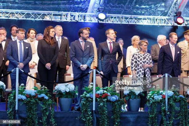Prince Sebastien of Luxembourg Princess Claire Prince Felix of Luxembourg guest Grand Duchess Maria Teresa of Luxembourg and Grand Duke Henri of...