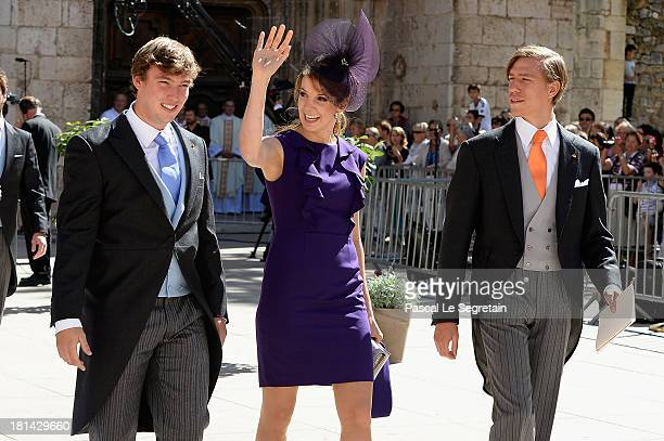 Prince Sebastien Of Luxembourg Princess Tessy Of Luxembourg and Prince Louis Of Luxembourg depart from the Religious Wedding Of Prince Felix Of...
