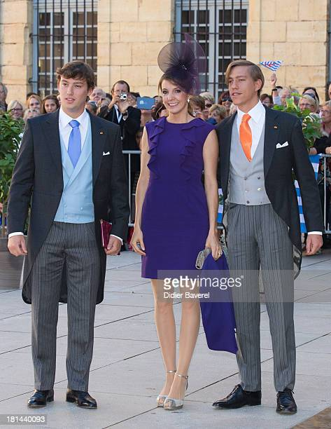 Prince Sebastien Of Luxembourg Princess Tessy Of Luxembourg and Prince Louis Of Luxembourg leave the religious wedding of Prince Felix of Luxembourg...