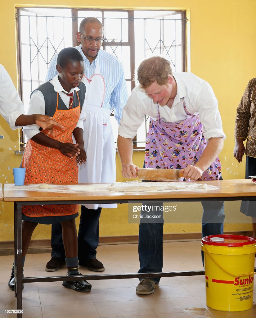 Prince Seeiso and Prince Harry cook cakes as they visit Kananelo Centre for the deaf, a project supported by his charity Sentebale on February 27, 2013 in Maseru, Lesotho. Sentebale is a charity founded by Prince Harry and Prince Seeiso of Lesotho. It helps the most vulnerable children in Lesotho get the support they need to lead healthy and productive lives. Sentebale works with local grassroots organisations to help these children, the victims of extreme poverty and Lesotho's HIV/AIDS epidemic. Cathy Ferrier was appointed as Sentebale's Chief Executive in March 2012 and is spearheading a fundraising initiative to build the Mamohato Centre which will provide psychosocial support for children and young people infected with HIV. Prince Harry is due to pay a visit to Lesotho this week to catch up on his charity's progress and meet key children who will be supported by the charity.