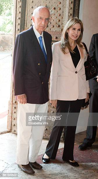 Prince Sforza Ruspoli and wife Maria Pia arrive at Marina Cicogna Opening Exhibition at Villa Medici on June 3 2009 in Rome Italy