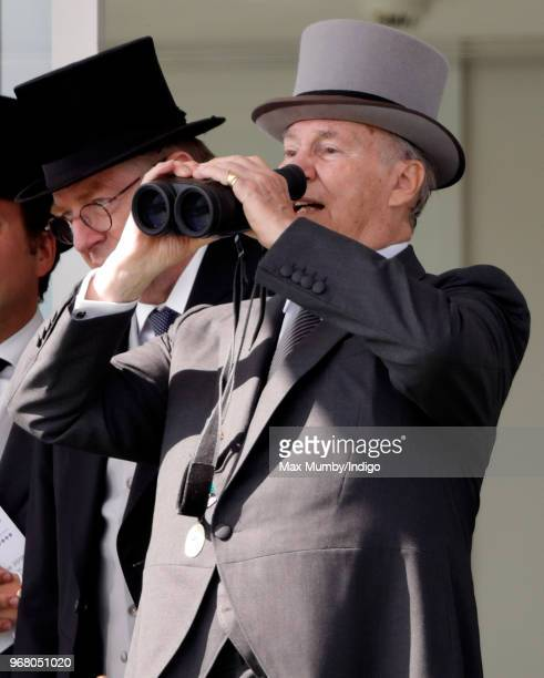 Prince Shah Karim Al Hussaini Aga Khan IV attends Derby Day of the Investec Derby Festival at Epsom Racecourse on June 2 2018 in Epsom England