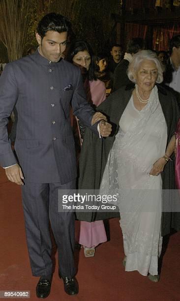 Prince Shivraj Singh, Yuvraj of Jodhpur, escorts Rajmata Gayatri Devi, the brand ambassador for Arisia Diamonds, at the Arisia Jodhpur Polo Season,...