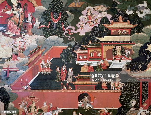 Prince Siddhartha future Buddha at the palace of his father the king scroll with episode from the life of Buddha Sakyamuni Tibetan civilisation 18th...