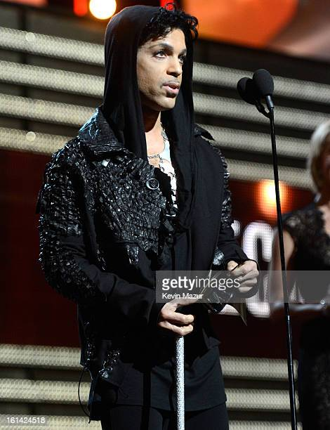 Prince speaks onstage during the 55th Annual GRAMMY Awards at STAPLES Center on February 10 2013 in Los Angeles California