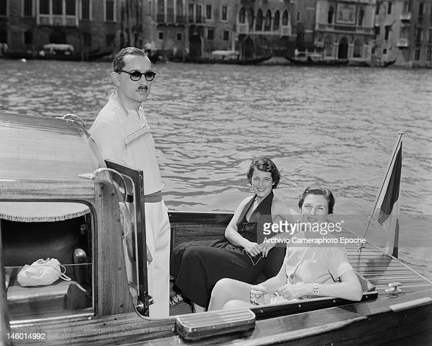 Prince Stanislaw Radziwill with his second wife Grace Kolin and a friend in Venice for a masked costume ball given by SpanishMexican multimillionaire...