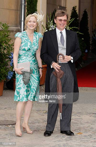 Prince Stephan Leopold zur Lippe and wife Countess Maria zu SolmsLaubach attend the religious wedding ceremony of Georg Friedrich Ferdinand Prince of...