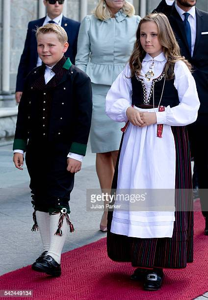 Prince Sverre Magnus and his sister Princess Ingrid Alexandra of Norway attend a service at Nidaros Cathedral on a visit to Trondheim during the King...