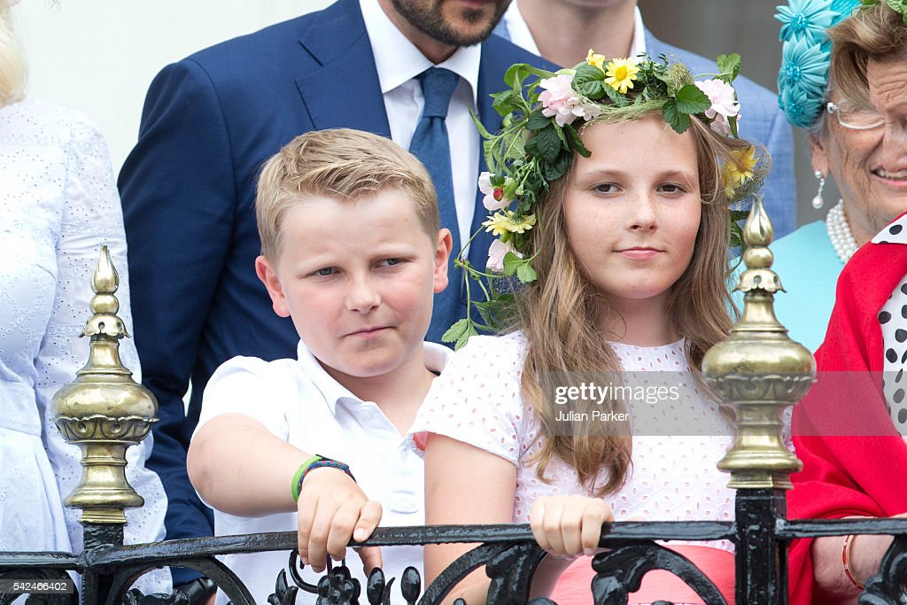 Prince Sverre Magnus, and his sister Princess Ingrid Alexandra of Norway, attend a Garden Party at the Royal Residence, Stiftsgarden, on a visit to Trondheim, during the King and Queen of Norway's Silver Jubilee Tour, on June 23, 2016 in Trondheim, Norway.