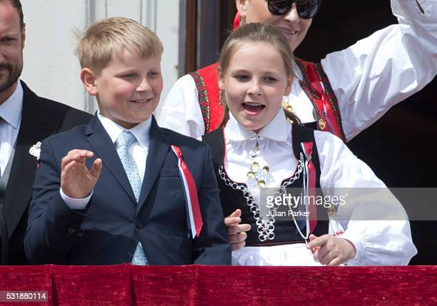 Prince Sverre Magnus and Princess Ingrid Alexandra of Norway on the balcony of The Royal Palace in Oslo to celebrate Norway's National Day on May 17...