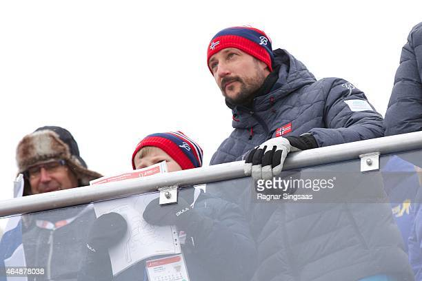 Prince Sverre Magnus of Norway and Crown Prince Haakon of Norway attend the FIS Nordic World Ski Championships on March 1 2015 in Falun Sweden