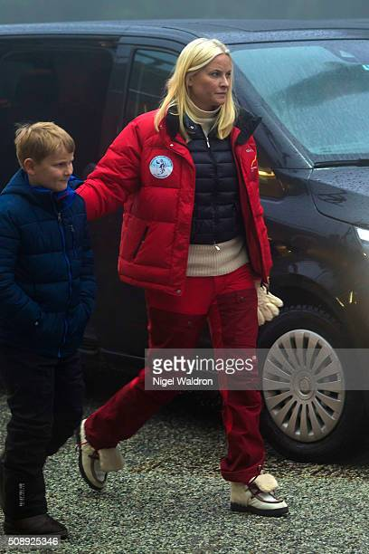 Prince Sverre Magnus of Norway and Crown Princess Mette Marit of Norway attend the FIS World Cup Nordic Ski Festival at Holmenkollen on February 7...