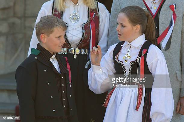 Prince Sverre Magnus of Norway and Princess Ingrid Alexandra of Norway attend the traditional morning children's parade at their home Skaugum in...
