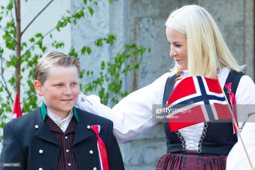 Prince Sverre Magnus of Norway and Princess Mette Marit of Norway outside their home at Skaugum Farm in Asker during Norway's National Day on May 17, 2018 in Oslo, Norway.
