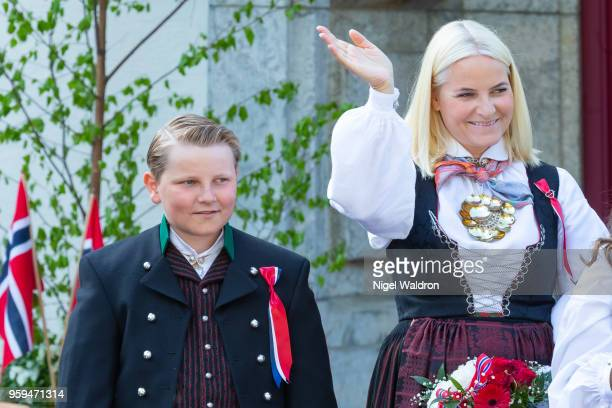 Prince Sverre Magnus of Norway and Princess Mette Marit of Norway outside their home at Skaugum Farm in Asker during Norway's National Day on May 17...