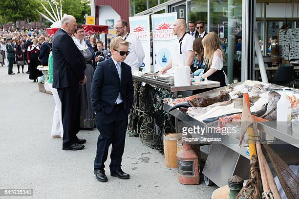 Prince Sverre Magnus of Norway attends festivities at the Ravnakloa fish market during the Royal Silver Jubilee Tour on June 23 2016 in Trondheim...