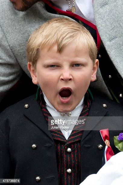 Prince Sverre Magnus of Norway attends the traditional morning children's parade at his home Skaugum in Asker near Oslo on Norway's National Day on...