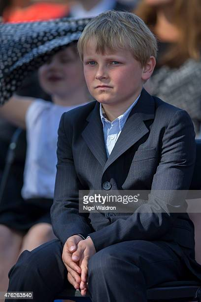 Prince Sverre Magnus of Norway attends the unveiling of a statue of King Olav V at the City Hall Square on June 7 2015 in Oslo Norway