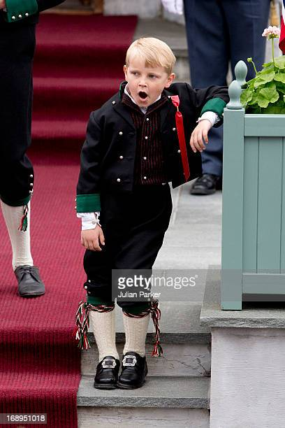 Prince Sverre Magnus of Norway, celebrates Norway National Day at The Crown Prince couples residence, Skaugum, in Asker, near Oslo on May 17, 2013 in...